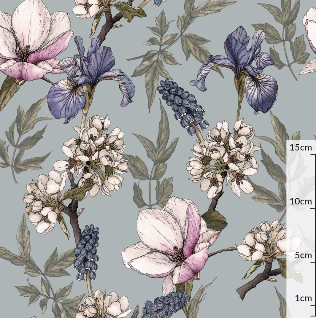 Iris Vintage Flower Cotton Fabric Floral Garden Modern Etsy In 2020 Vintage Flowers Bleeding Heart Floral Garden