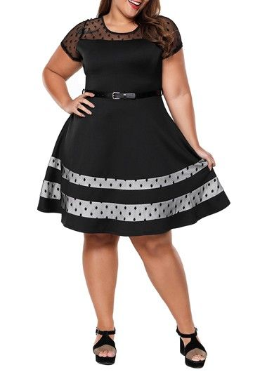22f7629fb46e2 Plus Size Short Sleeve Mesh Panel Black Dress