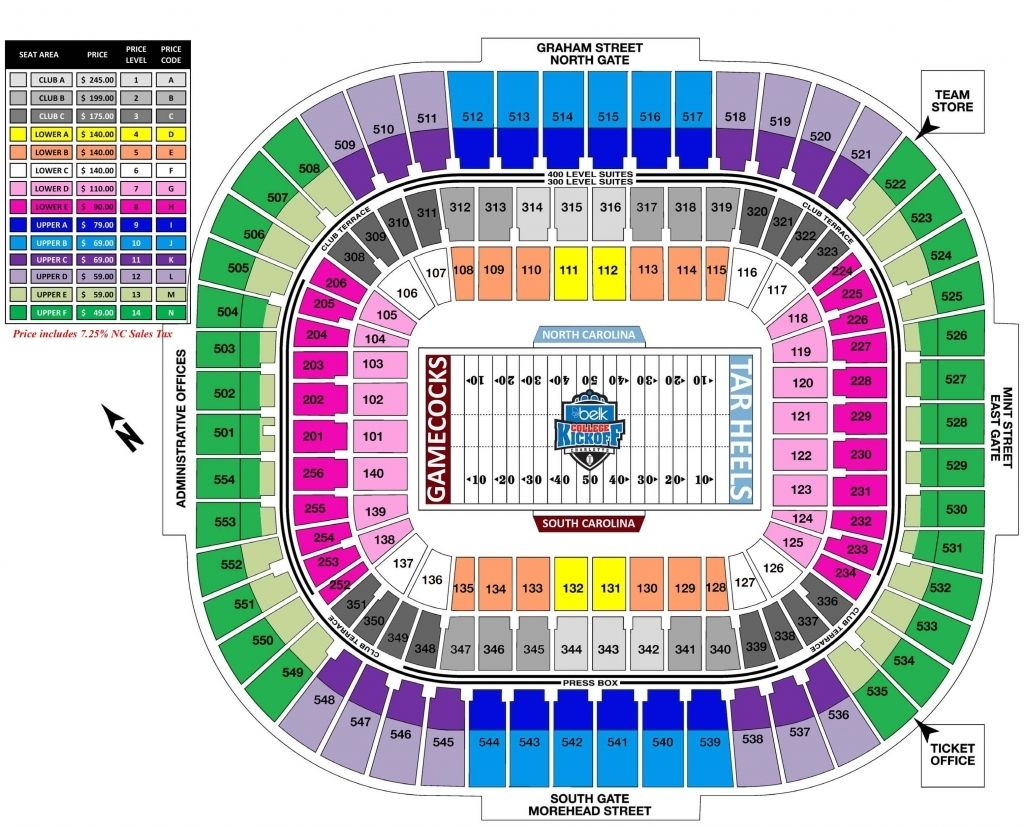 Bank Of America Seating Chart Seating Charts Bank Of America Bank Of America Stadium