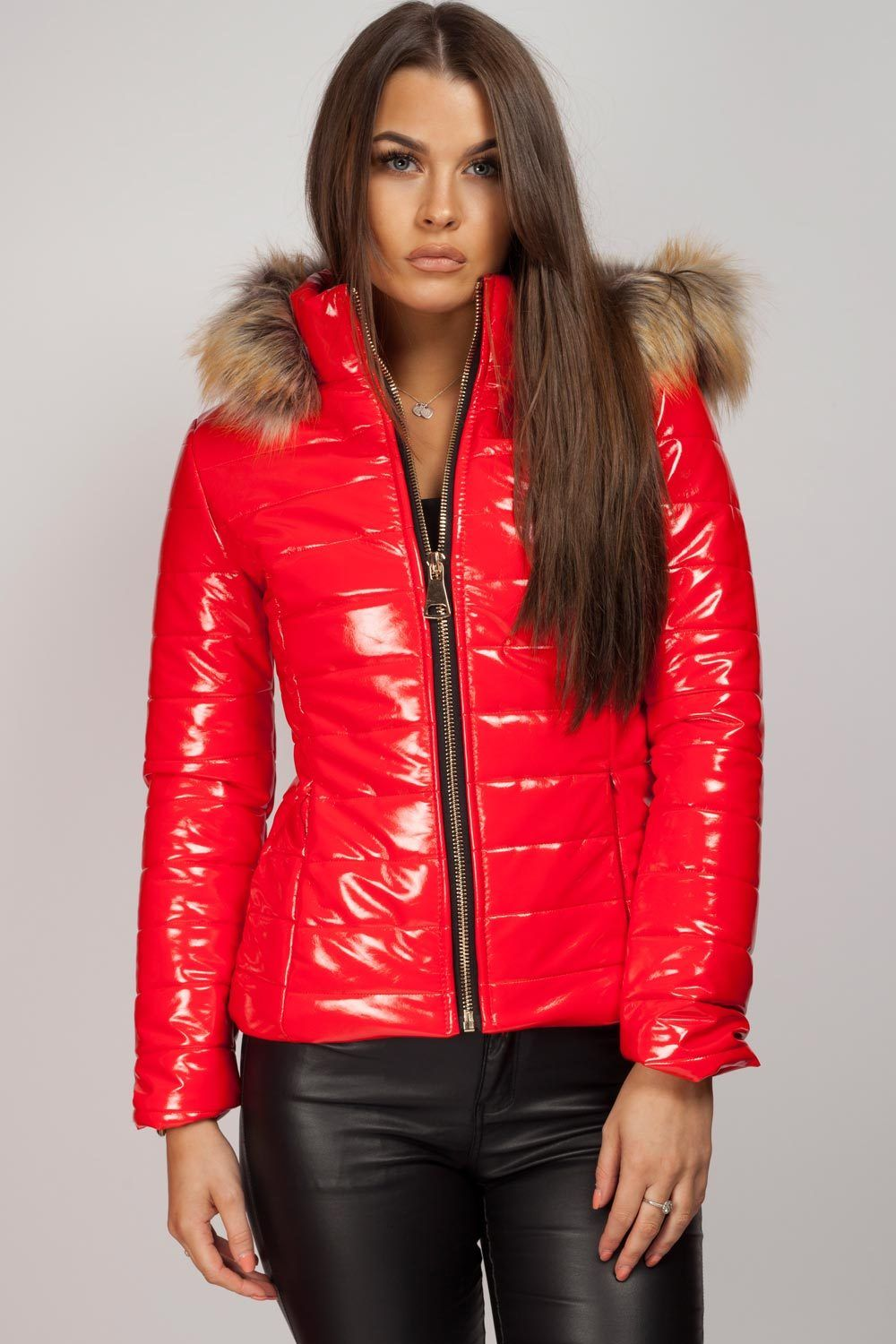Wet Look Puffer Coat With Faux Fur Hood Red Puffer Jacket Puffer Jacket Women Faux Fur Hood [ 1500 x 1000 Pixel ]