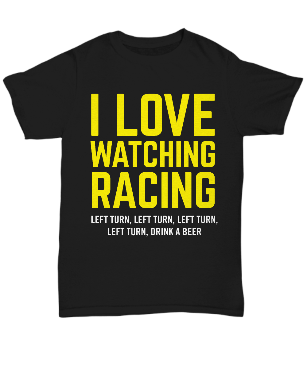 T-SHIRT: I LOVE WATCHING RACING. This shirt is NOT available in stores. Guaranteed safe checkout with PAYPAL | VISA | MASTERCARD. Printed, Made, And Shipped From The USA. https://www.gearbubble.com/tshirt-love-watching-racing #NASCAR