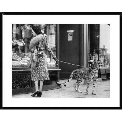 Global Gallery Elegant Woman with Cheetah Framed