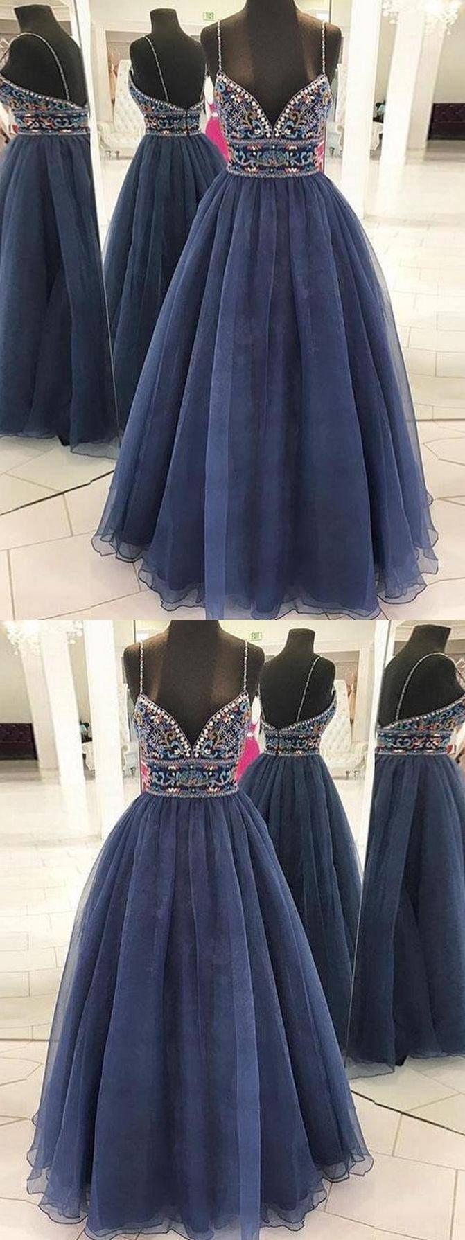 Beautiful prom dresses aline spaghetti straps rhinestone long prom