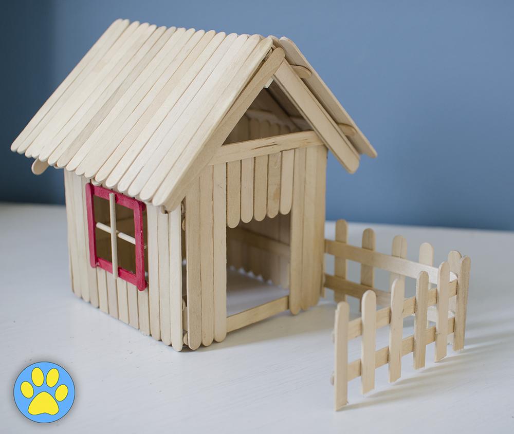 lolly/popsicle stick hamster house! | diy hamster | pinterest