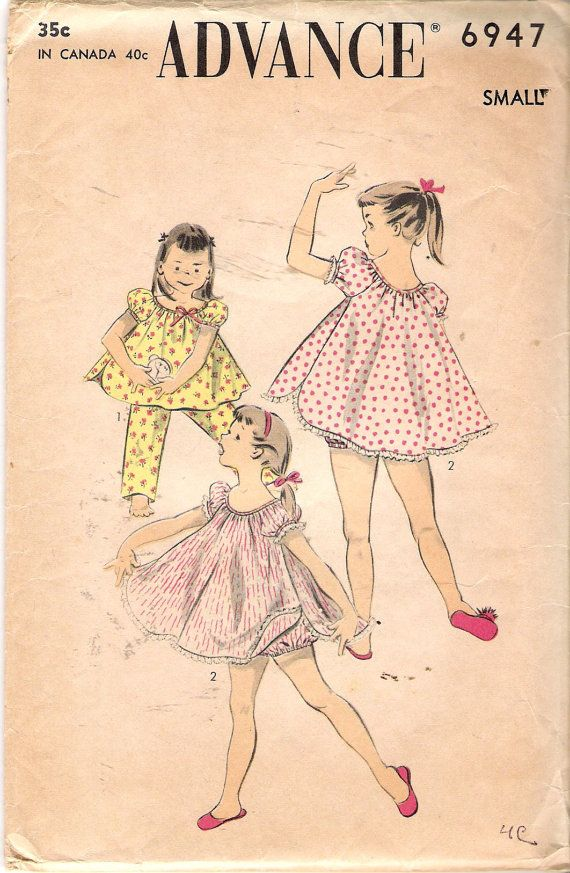 Vintage 1955 Advance 6947 Girl\'s Two Pajama Sets Sewing Pattern Size ...