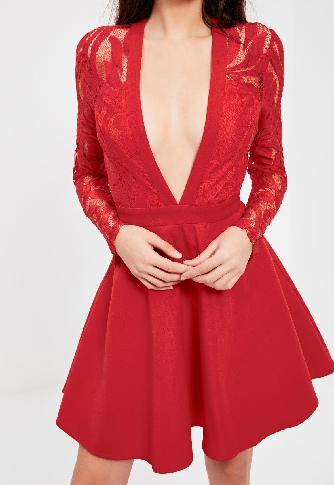 Red Lace Long Sleeve Plunge Skater Dress Missguided Lace Dress Plunge Skater Dress Dresses [ 1680 x 1160 Pixel ]