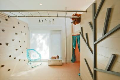 Modern Playroom With Climbing Wall And Monkey Bars