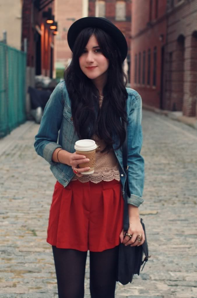 Red shorts + lace top + jean jacket + black hat & tights