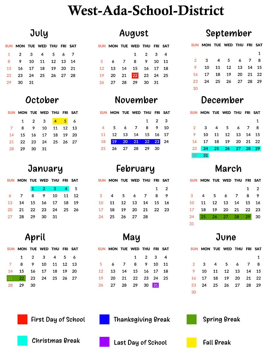 West Ada Calendar 2021 West Ada County School Calendar | School calendar, Calendar