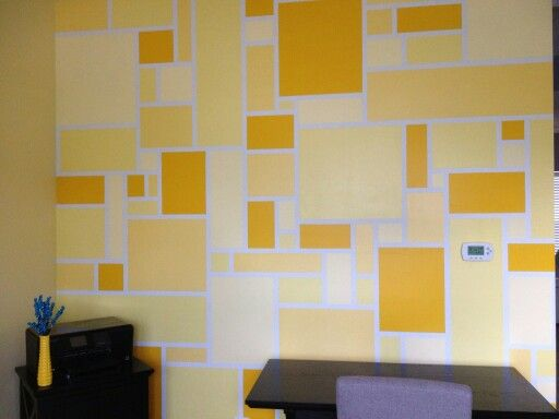 Squares Rectangles Painted On One Wall In Front Room Diy Wall