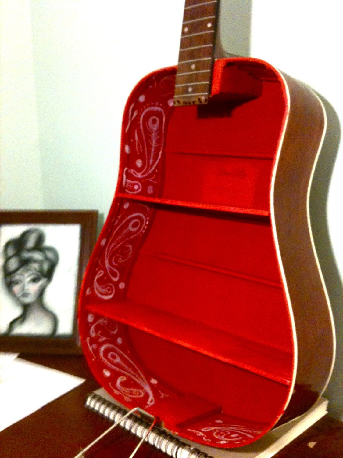 Another Beauty Old Guitar Repurposed Into A Shelf Love The Red Lining Guitar Shelf Music Furniture Christmas Decor Diy