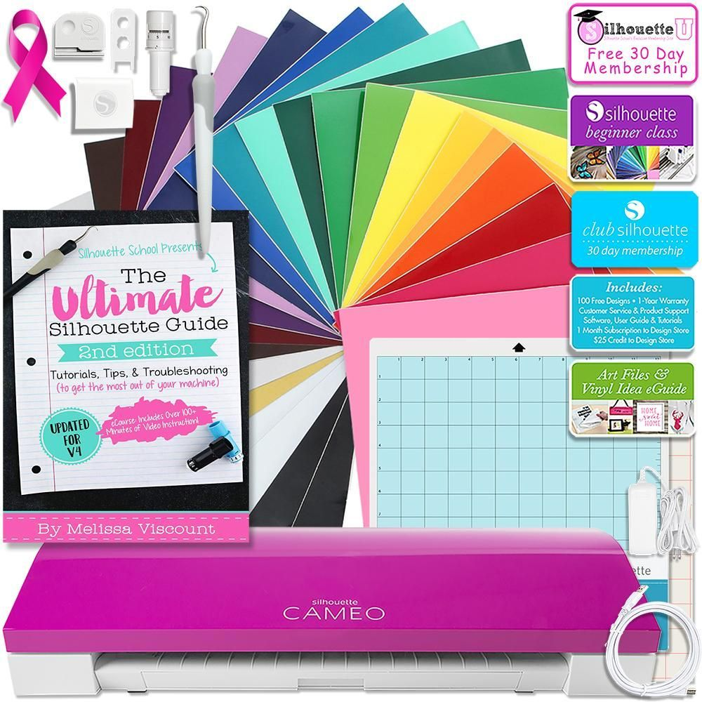 Class Silhouette Pink Cameo 3 Bluetooth Educational Bundle Oracal Vinyl Guides