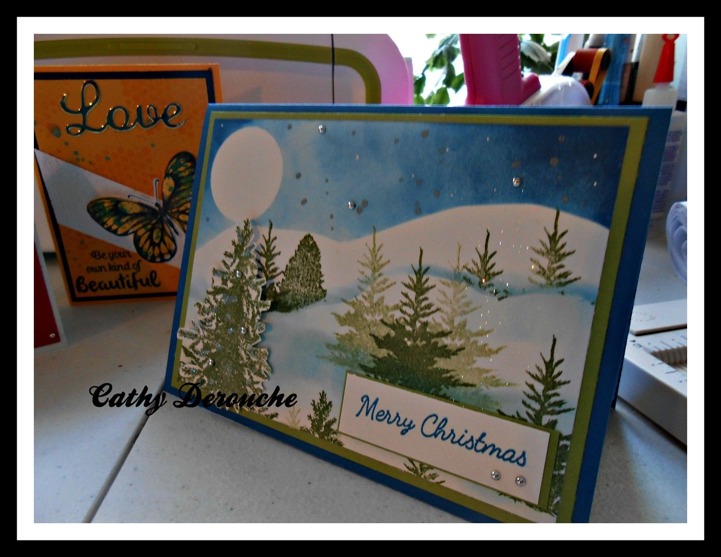 tree scenery card Merry christmas, Merry, Cards