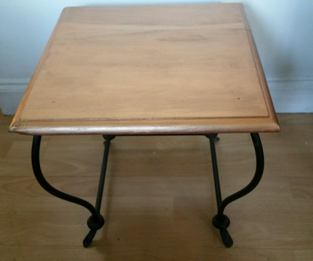 Vintage Wrought Iron Coffee Table Faux Marble Top In Home