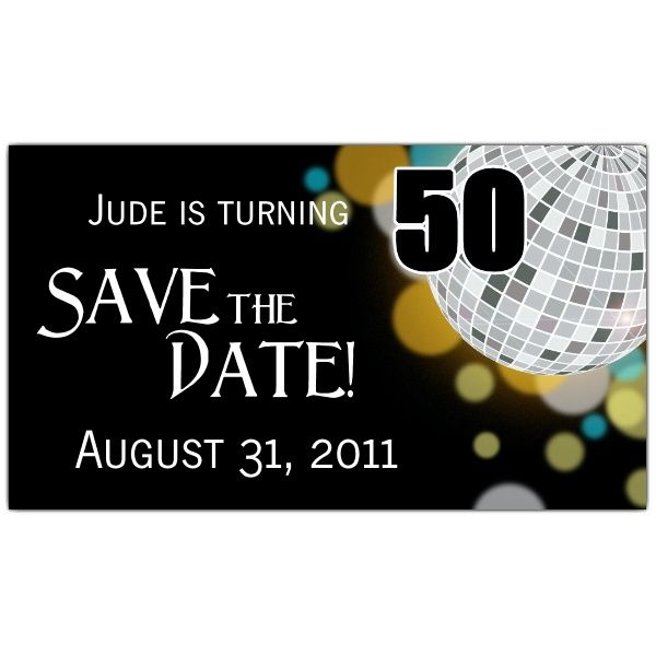 Disco Ball 50th Save The Date Magnets Paperstyle