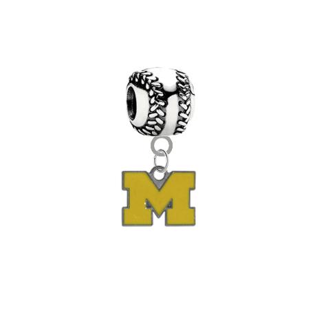 Michigan Wolverines European Rhinestone Gem Charm for Bracelet Bead Pendant
