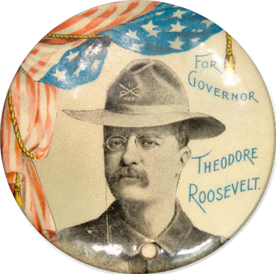 0bf09e45123 Cool button from Teddy Roosevelt s winning 1898 campaign for governor of  New York. Via the Clinton Ivan Winslow Political Memorabilia Collection in  the ...