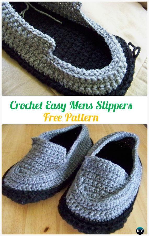 Crochet Easy Mens Slippers Free Pattern #Crochet | zapatitos y ...