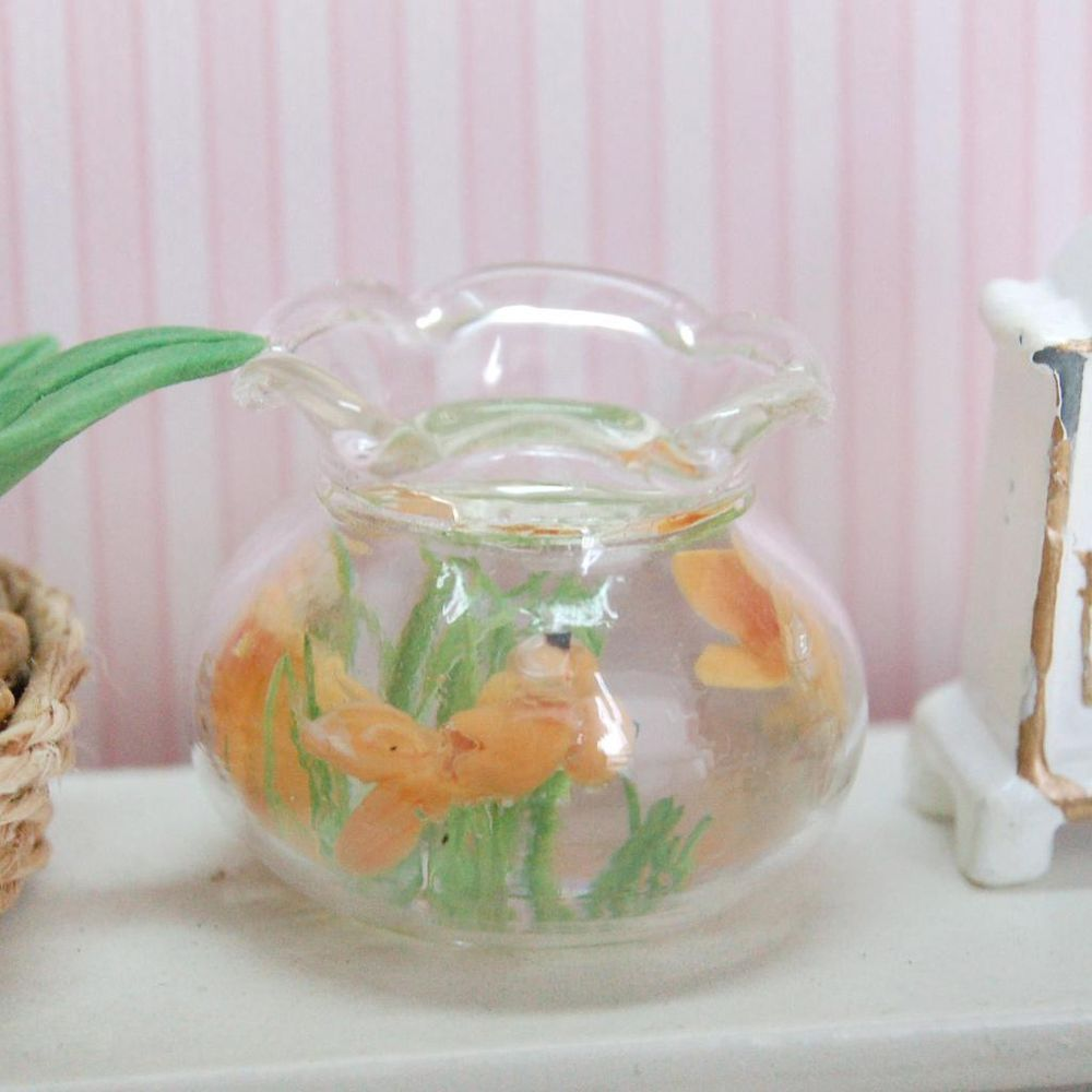 Miniature Gold Fish Bowl Fish Tank For 1:12 Scale Doll House Office Decor