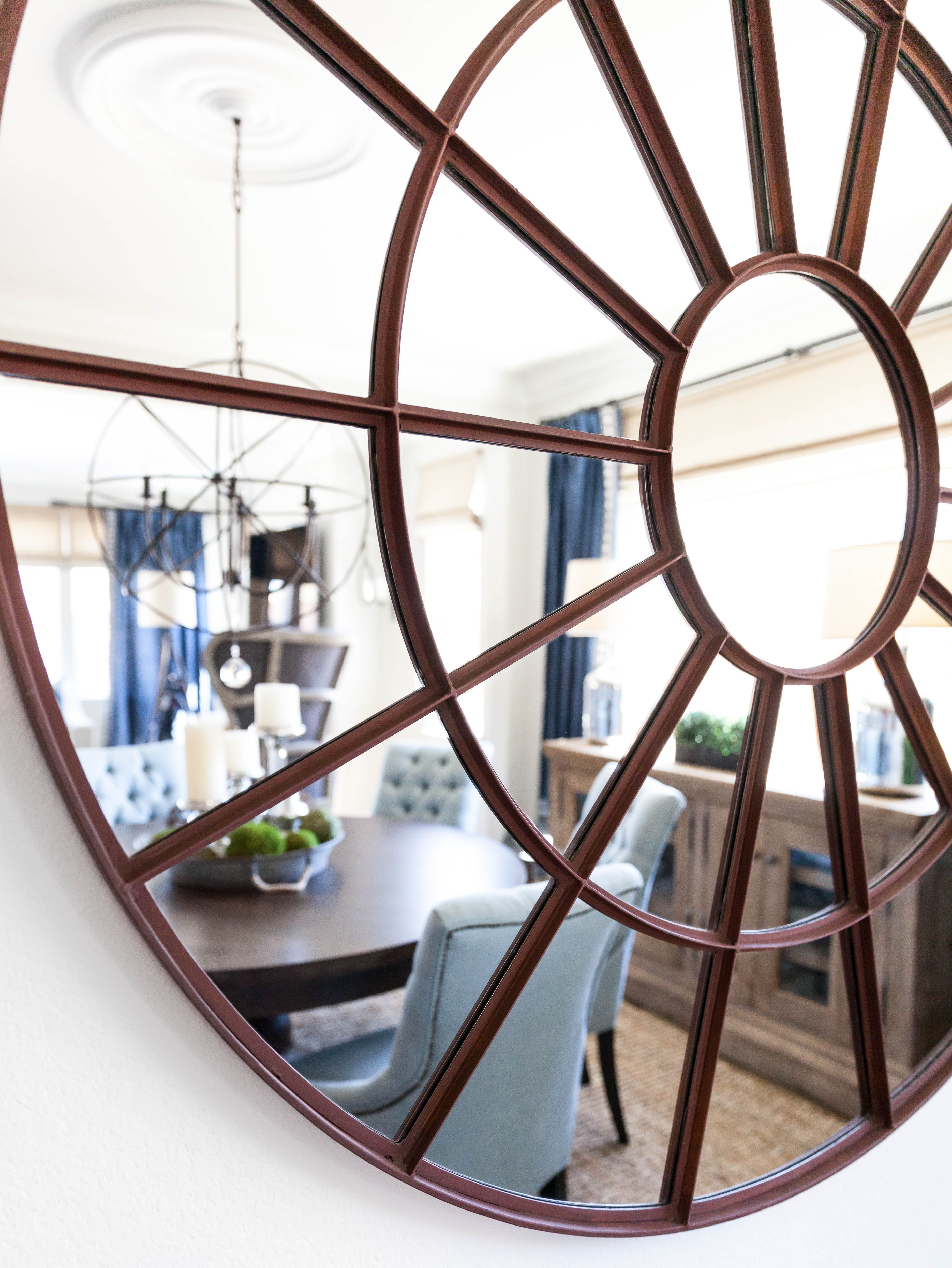 Large Round Mirror 60 Mirror Dining Room Restoration Hardware Mirror Designer Juxtaposed Interiors Mirror Dining Room Interior Dining Room Walls