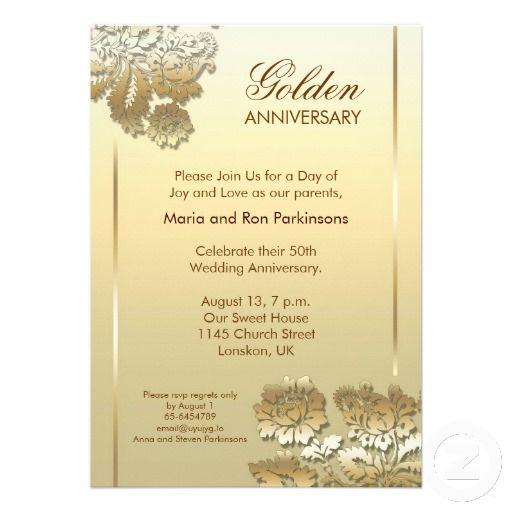 50 Golden Anniversary Invitation Zazzle Com 50th Wedding Anniversary Invitations Golden Anniversary Invitations 50th Anniversary Invitations