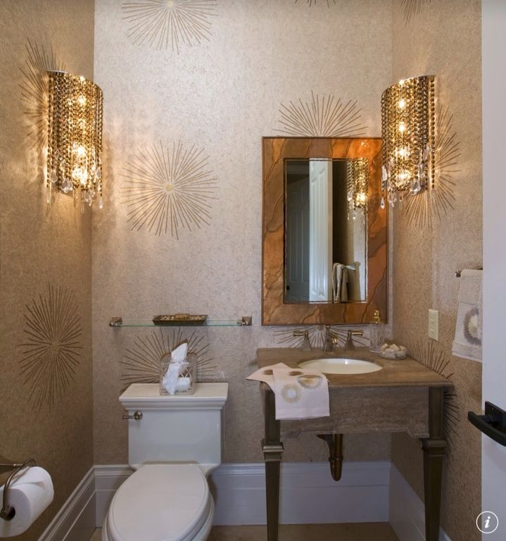 Modern Powder Room with Wallpaper, Limestone counters, Wall sconce, Standard height, Console sink, interior wallpaper