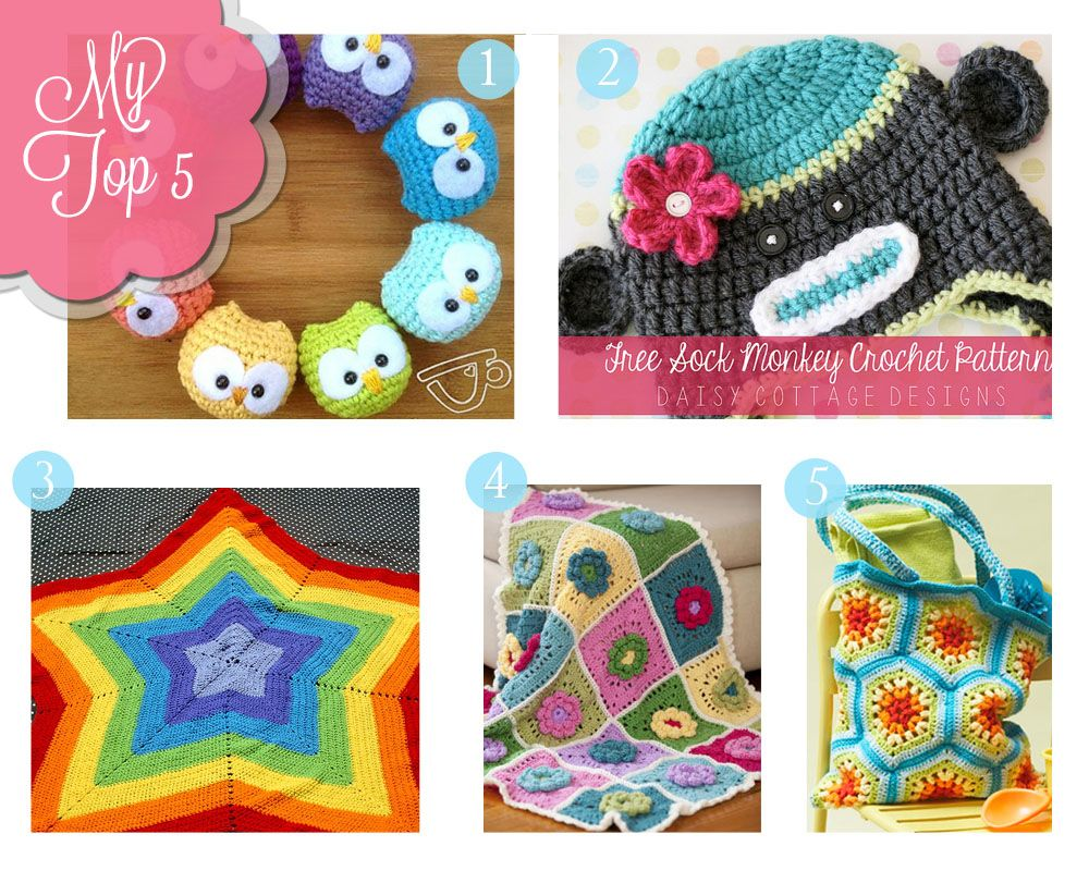 My Top Five {Free Crochet Patterns   Pinterest