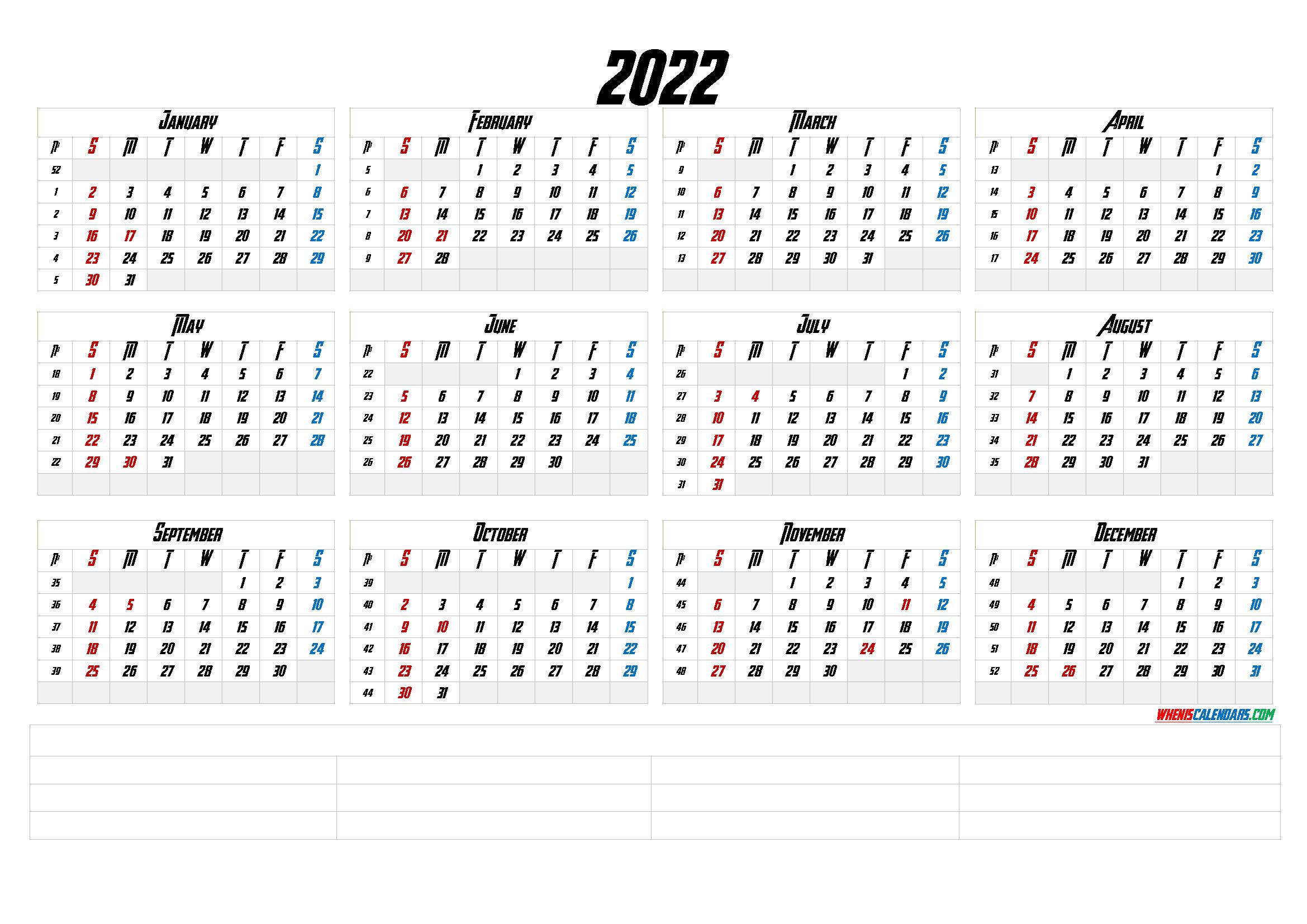 2022 Calendar Week Numbers.Printable 2022 Calendar With Week Numbers 6 Templates 12 Month Calendar Printable Calendar With Week Numbers Monthly Calendar Printable