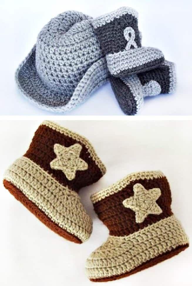 Lujo Patrón De Crochet Libre Para Botas De Vaquero Del Bebé Bosquejo ...