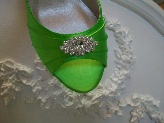 Lime Green Wedding Shoes Over 200 Colors Dyeable Wide Sizes Available Swarovski Crystal P Toe Bridal Shoe By Parisxox