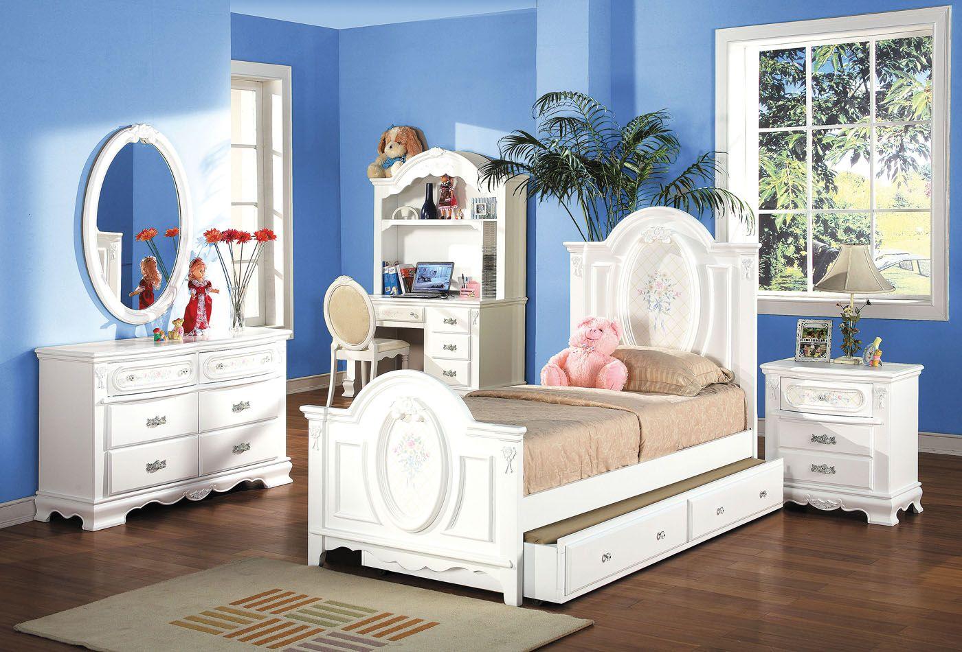 acme flora panel bedroom set in white  kids bedroom
