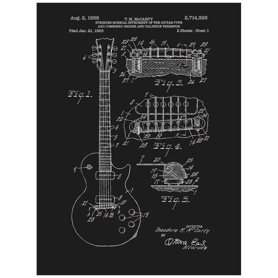 Unframed Gibson Les Paul Electric Guitar Patent Print Poster Art Decor Gift