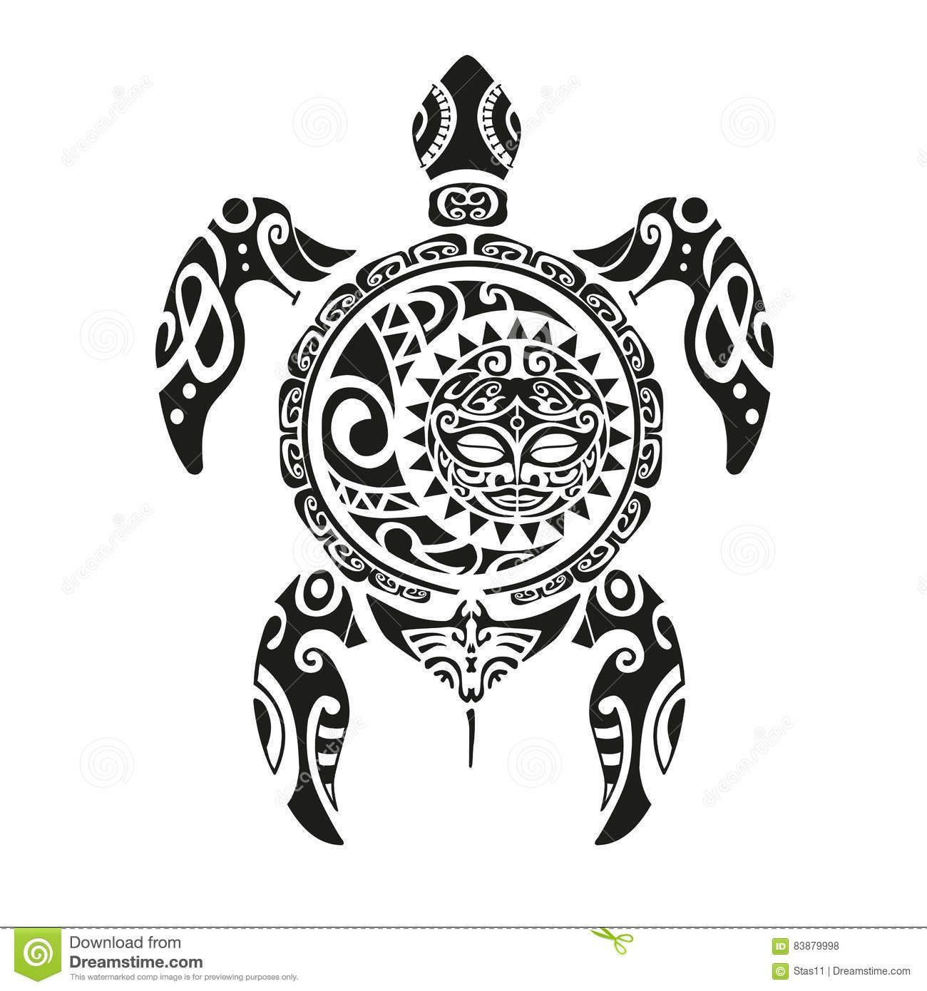 Tatuaje De La Tortuga En Estilo Maorí Ilustración EPS10