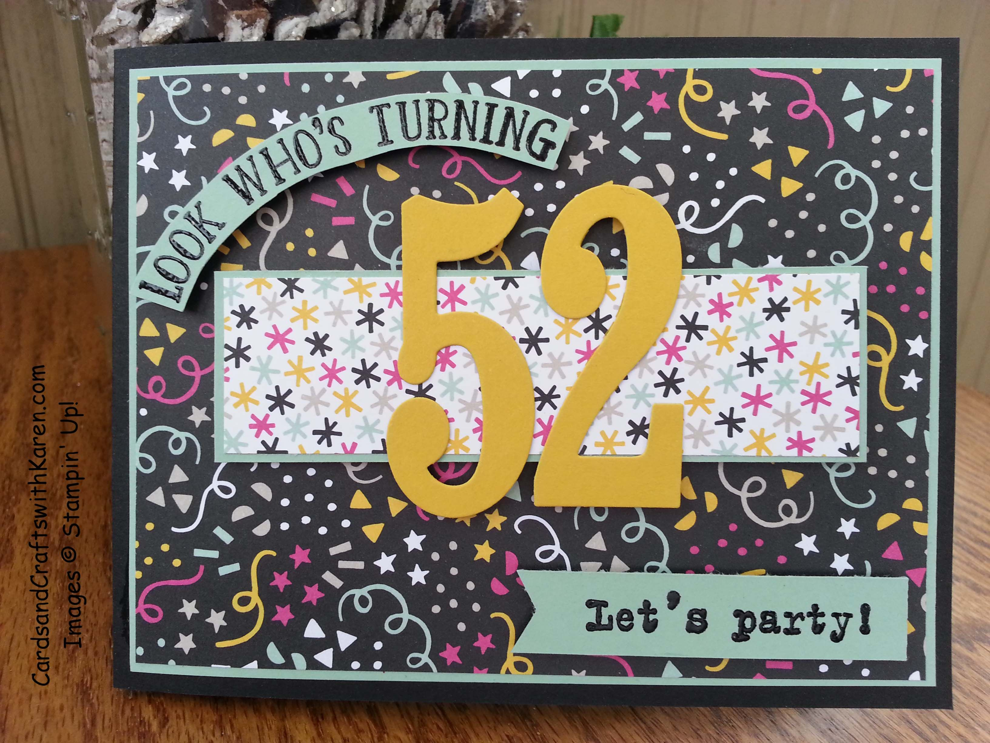 Birthday card for my brother featuring stampin up large numbers and