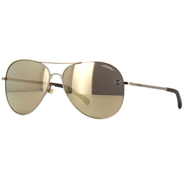 f408410983bda Chanel 4189TQ Gold Mirror Aviator Sunglasses   Pretavoir ❤ liked on  Polyvore featuring accessories, eyewear