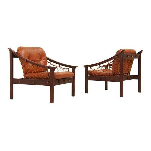 Image Of Amazonas Brazilian Jacaranda Sling Lounge Chairs Netting,  Nautical, Shipley, MCM,