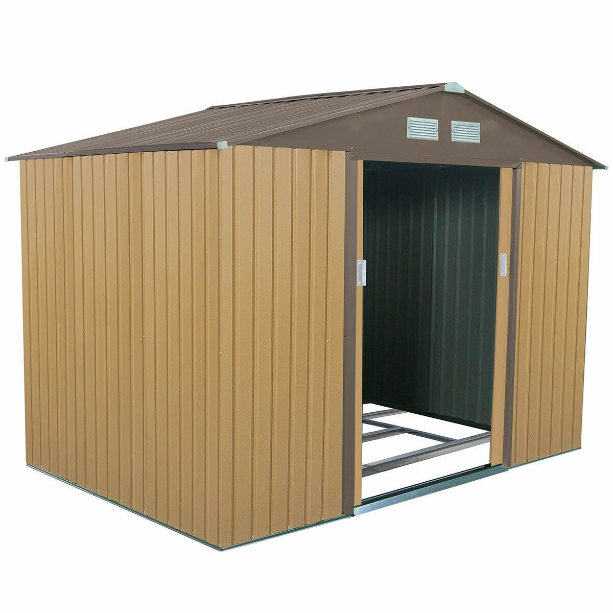 9 X 6 Outdoor Storage Shed Tool House Sliding Door Steel Khaki Outdoor Storage Sheds Garden Storage Shed Garden Tool Storage