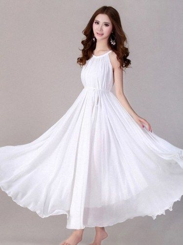 White Bridesmaids Dress White Maxi | Chiffon dresses, Flower girl ...