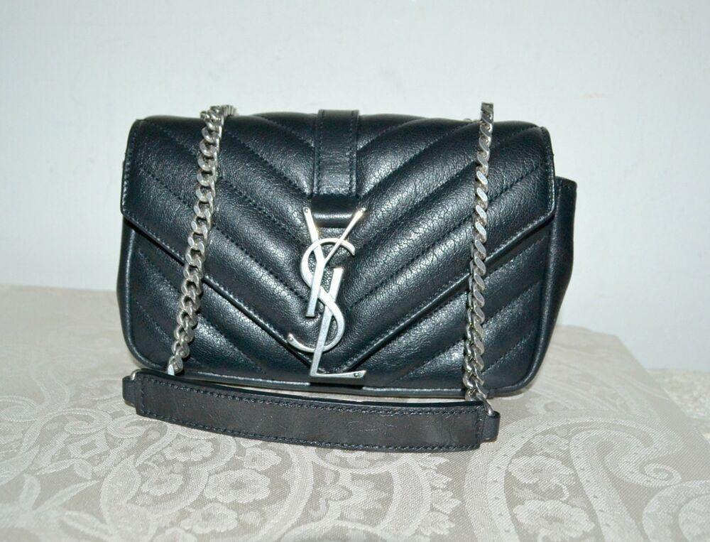 7ba4a12cfc New $1560 Auth SAINT LAURENT YSL Mono Mini Baby Handbag Chain Strp BLACK  Leather #SaintLaurent #Clutch
