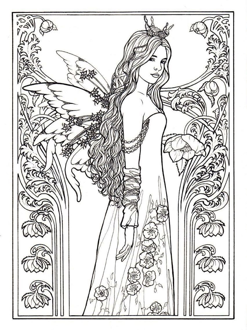 Colouring Pages Of Princesses And Fairies With Images Fairy