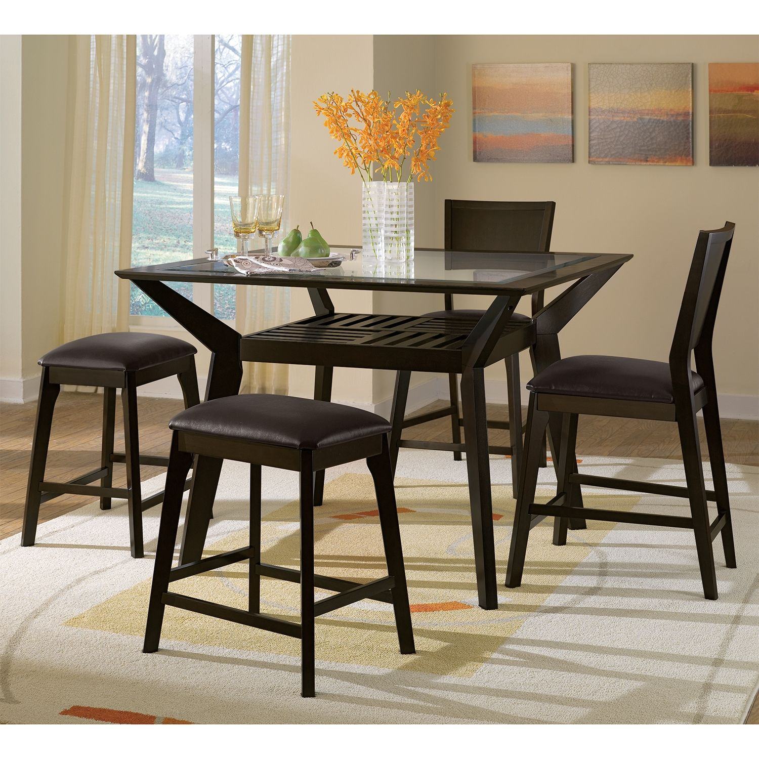 Mystic 5 Pc Counter Height Dinette w 2 Backless Stools