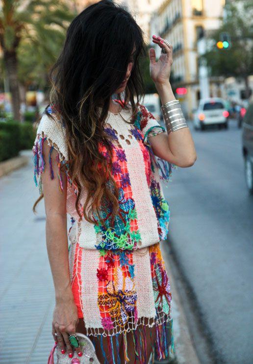 CROCHET DRESS Las Dalias Hippy Market (Ibiza), FLUOR DRESS Bershka, PURSE Manoush, SHOES Le Cos.  Welcome to Ibiza, Flower Power! #Pacha #Summer #madamederosa #Spain