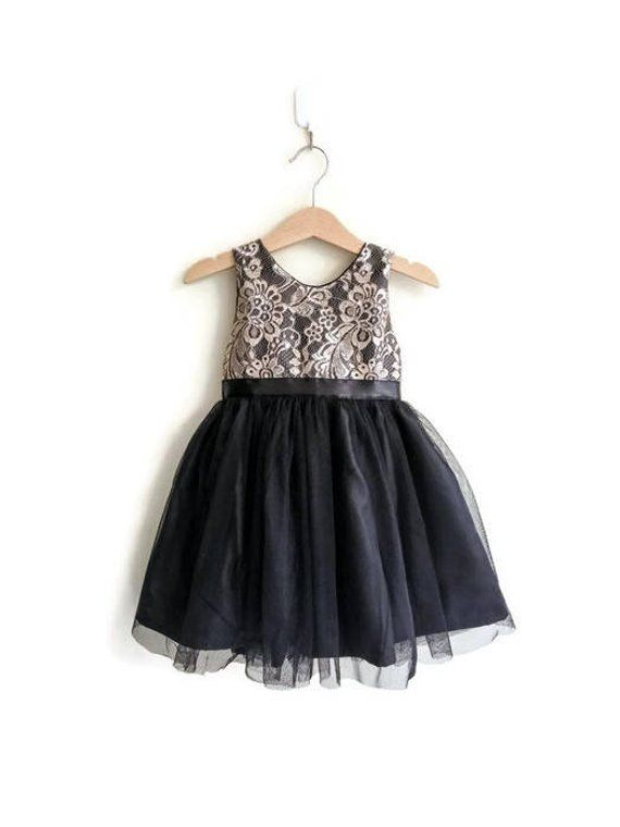 e9eaee8a903 Flower girls dress black and gold lace tutu dress