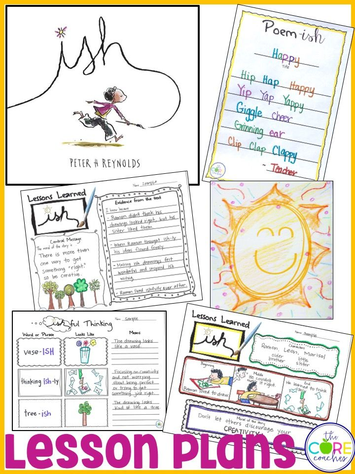 """Teach children  to focus on creativity rather than being discouraged about trying to """"get it right."""" ISH by Peter Reynolds is a perfect mentor text and these lesson plans support the central message nicely! The Core Coaches"""