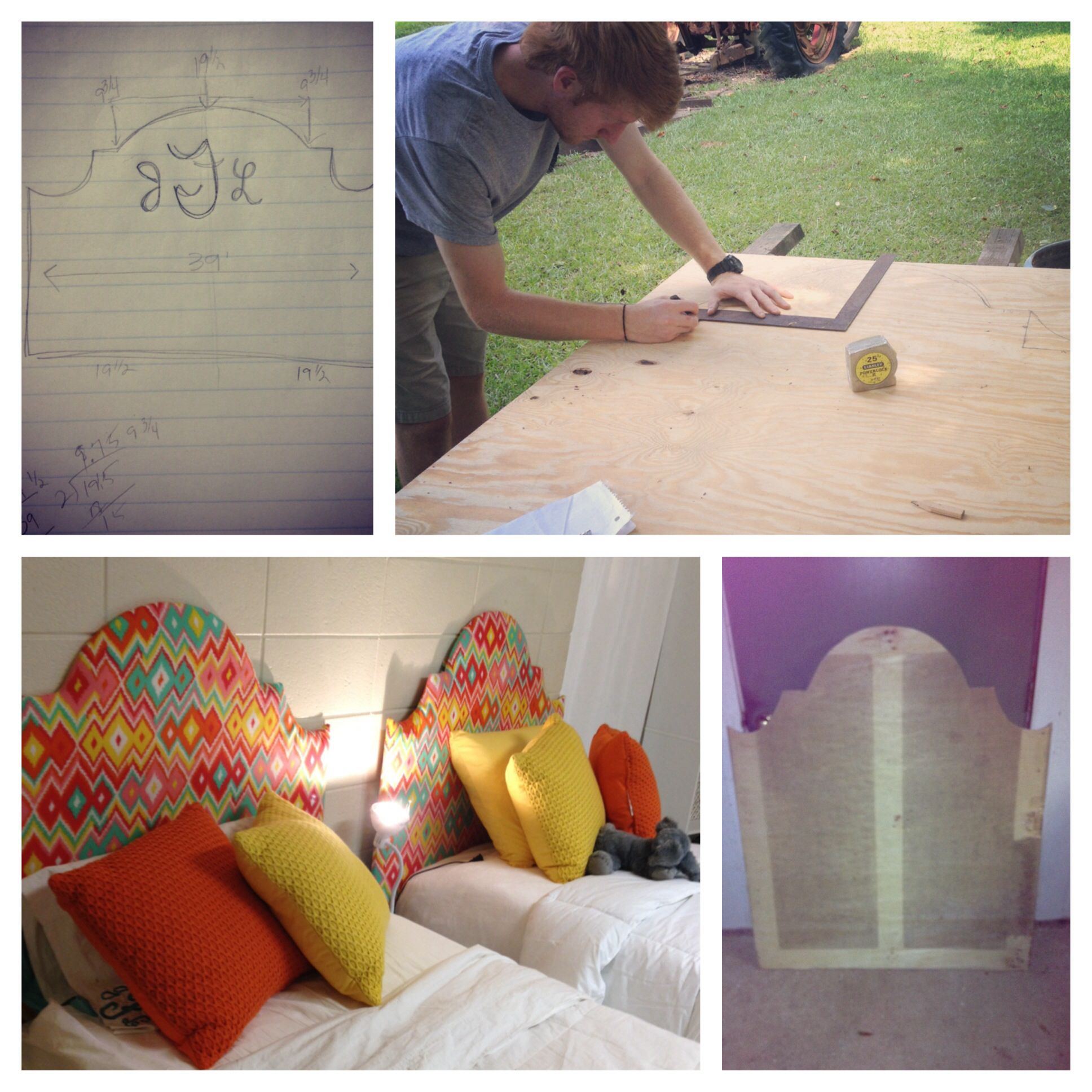 DIY dorm room headboard for twin size bed Traced & cut out from a