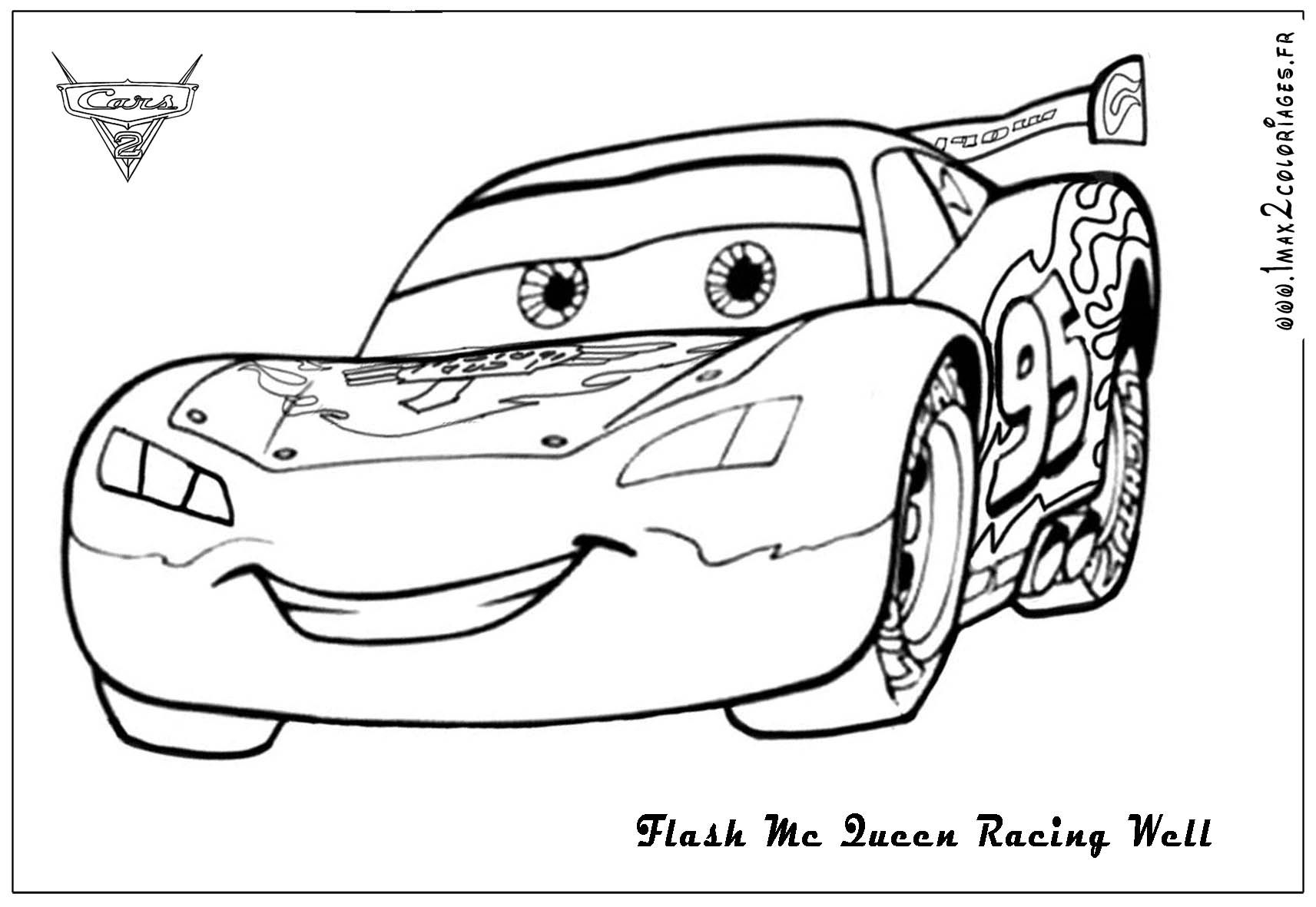 Flash Mc Queen Racing Cars 2 Dessin A Colorier Disney Coloriage