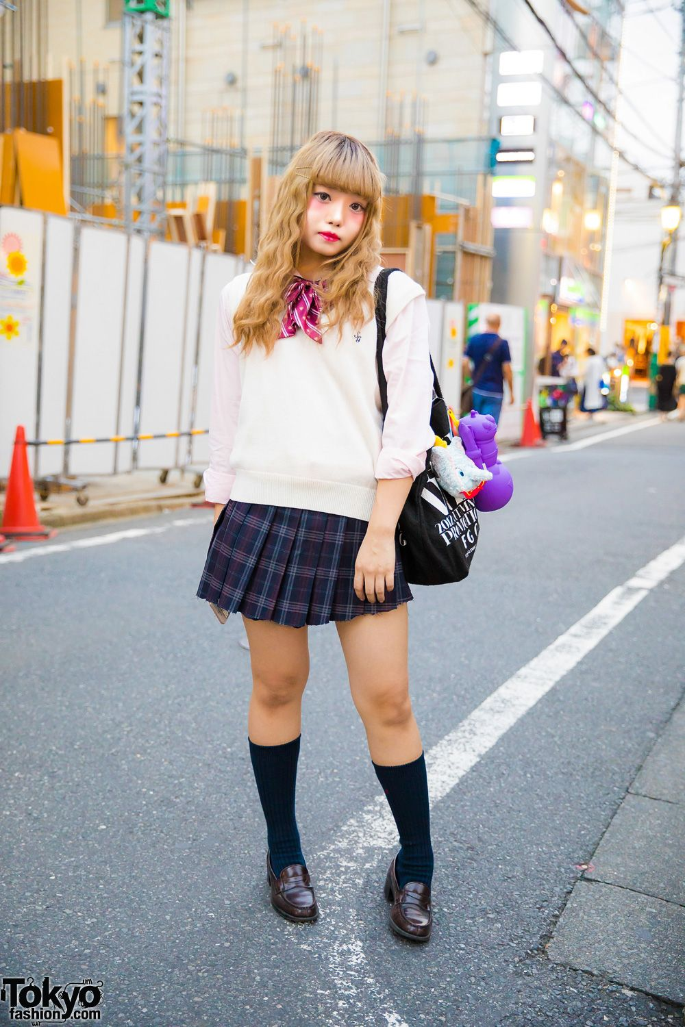 Harajuku Girl in Japanese School Uniform Street Style