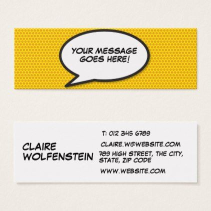 Personalised Pop Art Comic Book Sch Bubble Mini Business Card Office Gifts