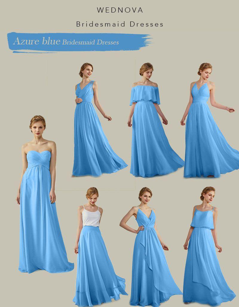 Sweetheart Chiffon Bridesmaid Dresses Azure Blue V Neck Dress With Spaghetti S Wedding Bridesmaids Dresses Blue Bridesmaid Dresses Long Blue Bridesmaid Dresses