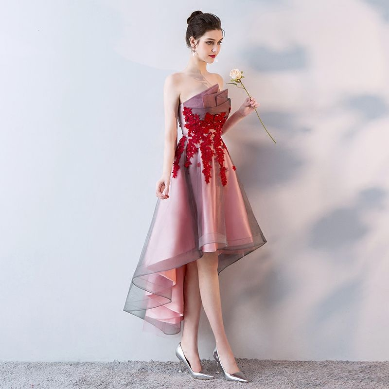 1f28c56f5f3208 Short Front Back Long Tail Prom Dresses Women Banquet High Low Evening  Party Dress 2018 Vintage
